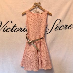 Pink Flower Lace Dress